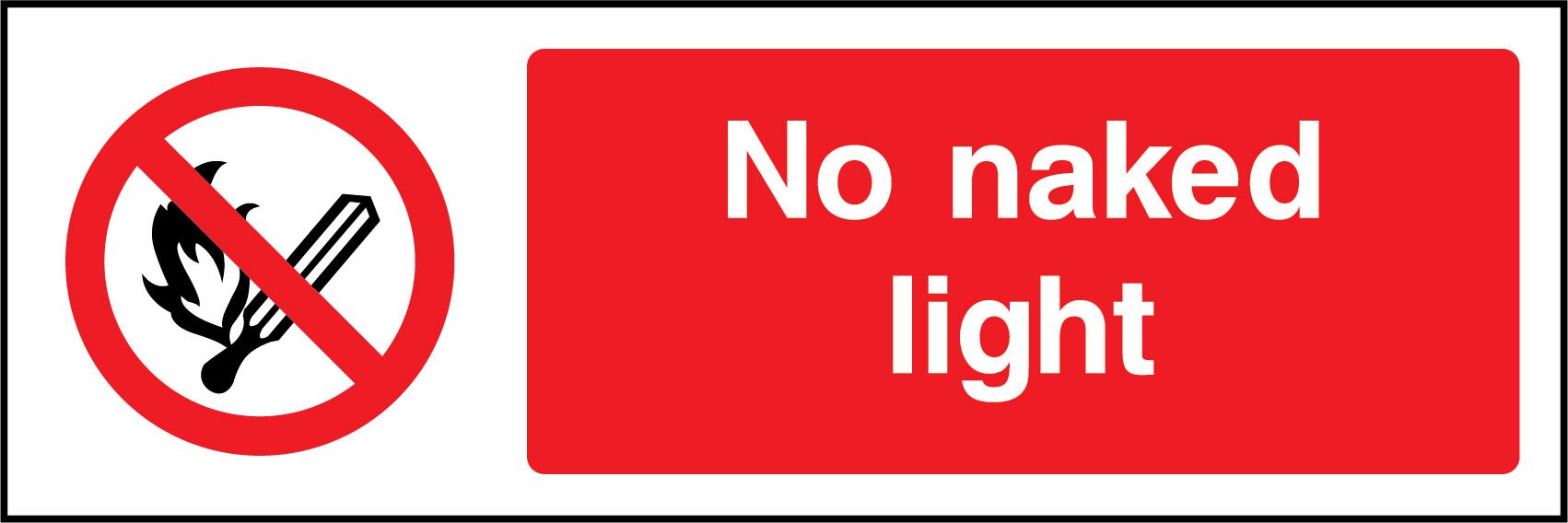 No Naked Light Labels 50mm x 50mm