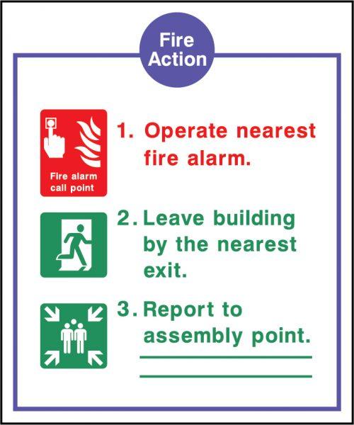 Fire Action Three Point Sign | Wedosafetysigns | fire safety signage | health and safety signage | ACP | Corrugated Plastic | Rigid PVC | Self Adhesive Vinyl