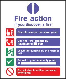 Fire action use nearest available exit call 999 sign | Wedosafetysigns | fire safety signage | health and safety signage | ACP | Corrugated Plastic | Rigid PVC | Self Adhesive Vinyl