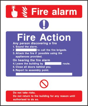 Fire action fire alarm sign | Wedosafetysigns | fire safety signage | health and safety signage | ACP | Corrugated Plastic | Rigid PVC | Self Adhesive Vinyl