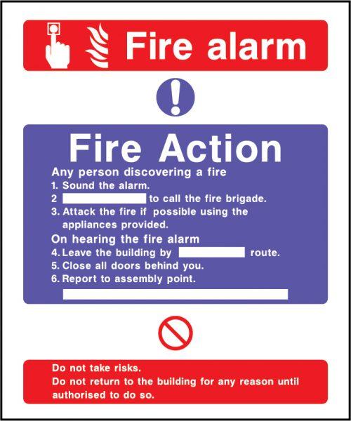 Fire action fire alarm sign | Wedosafetysigns | fire safety signage | health and safety signage | ACP | Corrugated Plastic | Rigid PVC | Self Adhesive Vinyl