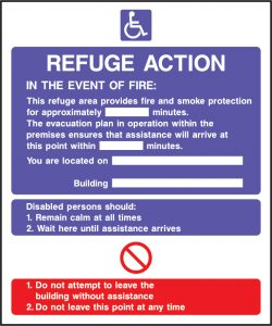 Fire action refuge action sign | Wedosafetysigns | fire safety signage | health and safety signage | ACP | Corrugated Plastic | Rigid PVC | Self Adhesive Vinyl