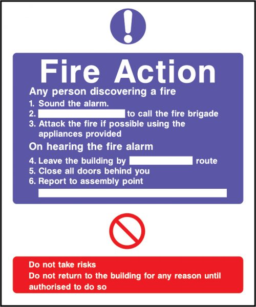 Fire action sound the alarm sign | Wedosafetysigns | fire safety signage | health and safety signage | ACP | Corrugated Plastic | Rigid PVC | Self Adhesive Vinyl