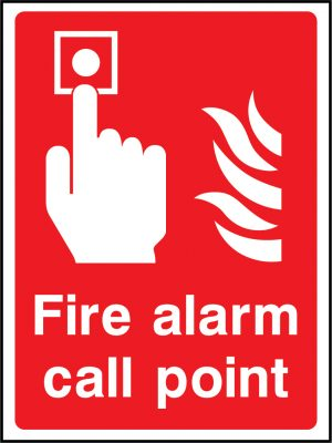 Fire alarm call point sign in red | Wedosafetysigns | fire safety signage | health and safety signage | ACP | Corrugated Plastic | Rigid PVC | Self Adhesive Vinyl