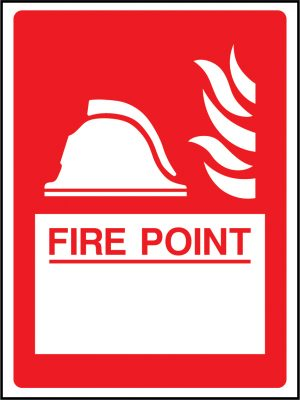 Fire point in white box sign | Wedosafetysigns | fire safety signage | health and safety signage | ACP | Corrugated Plastic | Rigid PVC | Self Adhesive Vinyl